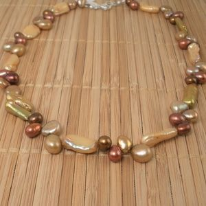 Handmade Chunky Pearl Necklace Copper Gold